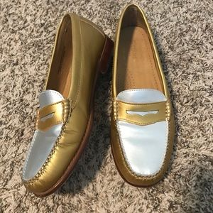 WEEJUNS GH BASS Gold Silver Leather Penny Loafers